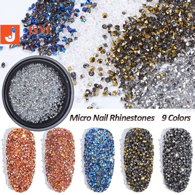 Beautypapa 1Box Glass Nail Caviar Tiny Rhinestones <strong>Micro</strong> Pixie <strong>Crystals</strong> 3d Sharp End Glitter Strass For Nails Art Decorations