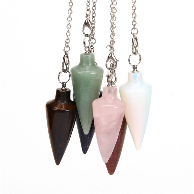 <strong>Natural</strong> Crystal Gemstone Beads Cone Pendulum Fashion Charms <strong>Pendant</strong>