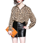 Wholesale European and American style new fashion high quality lady blouse leopard print top long sleeve loose causal shirt