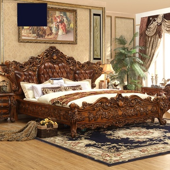 Imperial Solid Wood Hand Carved Bedroom Furniture Super Luxury American Style Leather Bed King Size