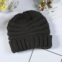 Fashion cap kids winter beanie plain hats caps closed top warm windproof hat for child
