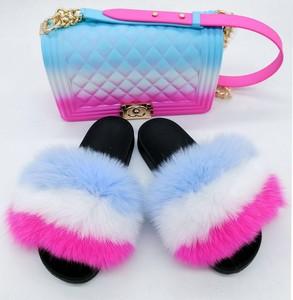 Hot High Quality wholesale custom logo women sew furry natural raccoon fur slides real fox fur slippers
