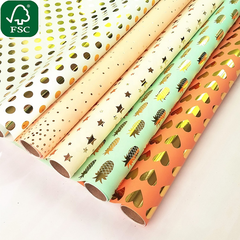 2020 Custom logo printed dot wrapping paper roll art paper Alibaba China supplier wrapping paper
