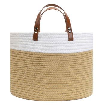 High Quality Stripe Small Cotton Storage Baskets With Leather Handles
