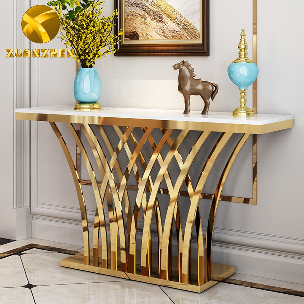 Foshan furniture living room sets luxury metal console table modern mirrored hallway table for sale CT032
