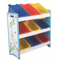wooden toy shelf with plastic bins