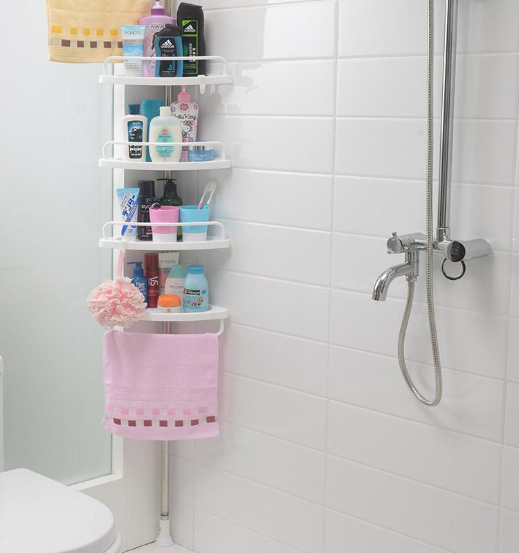 ФАБРИКА ЛУЧШИЕ ПРОДАЖИ регулируемые телескопические 4 ярусные полки для ванной комнаты пластиковые Угловые Душ caddy