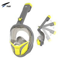 Hot sell Full Face Diving Mask Easy Breath 180 Degree Snorkel Diving Mask Set With Go Pro Mount free breathing no choking risk