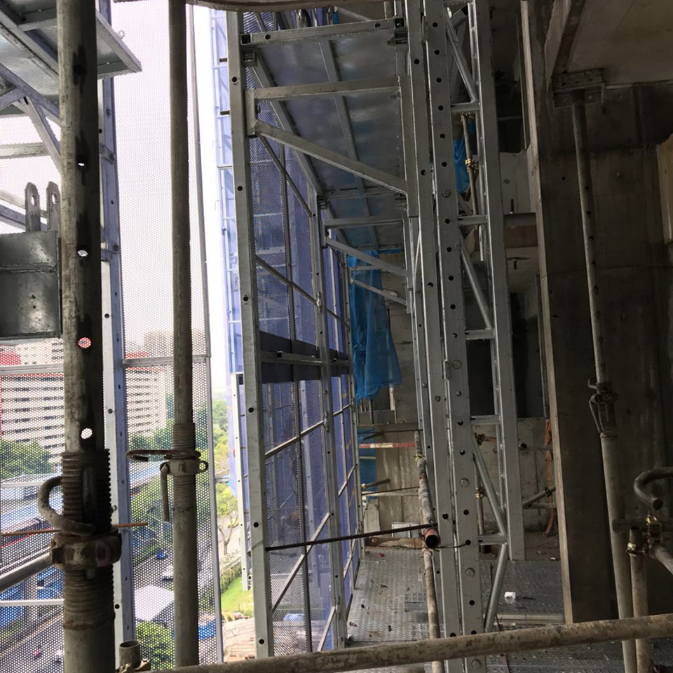 Chinese facade assembled self-climbing protective construction working platform