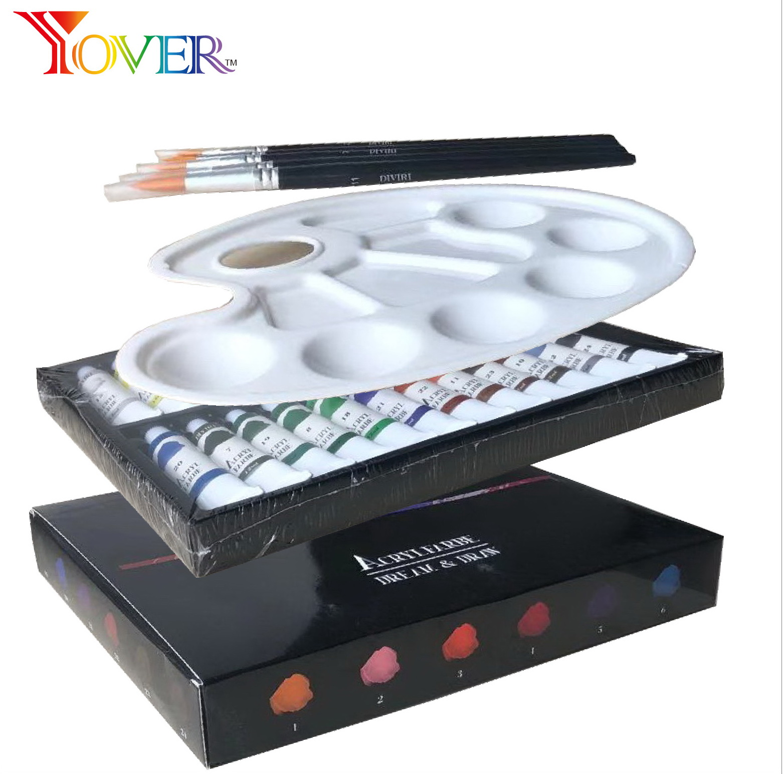 24pcs 12ml Acrylic Paint with Brush and Palette set