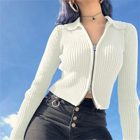 fall winter women's long sleeve jacquard knitting cropped top cardigans sweater