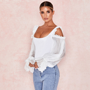 Fashion Fall Blank T Shirts Women White Casual Blouses Tops Icing Ruffled Sleeve Sexy Lace Shirts