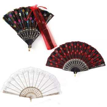 Plastic Material Lace Hand Fan for Wedding Party Gift Favor