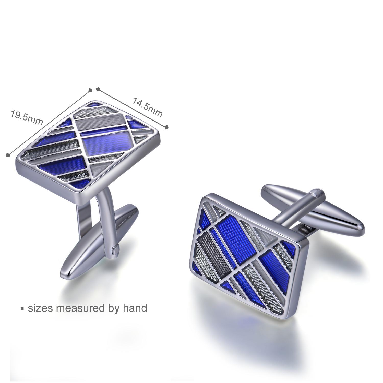 Classic Popular 925 Sterling Silver Cufflink Blue Rhodium Plated jewelry(图2)