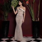 A3595 New Arrival Off Shoulder Sequin Beige Sleeveless Long Women Wedding Dress Ready To Ship Wholesale
