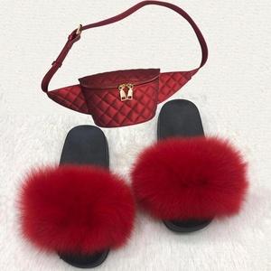 Multi-color custom indoor slipper jelly bag sets flush real soft raccoon fur slipper slider sandals fox fur slides for women