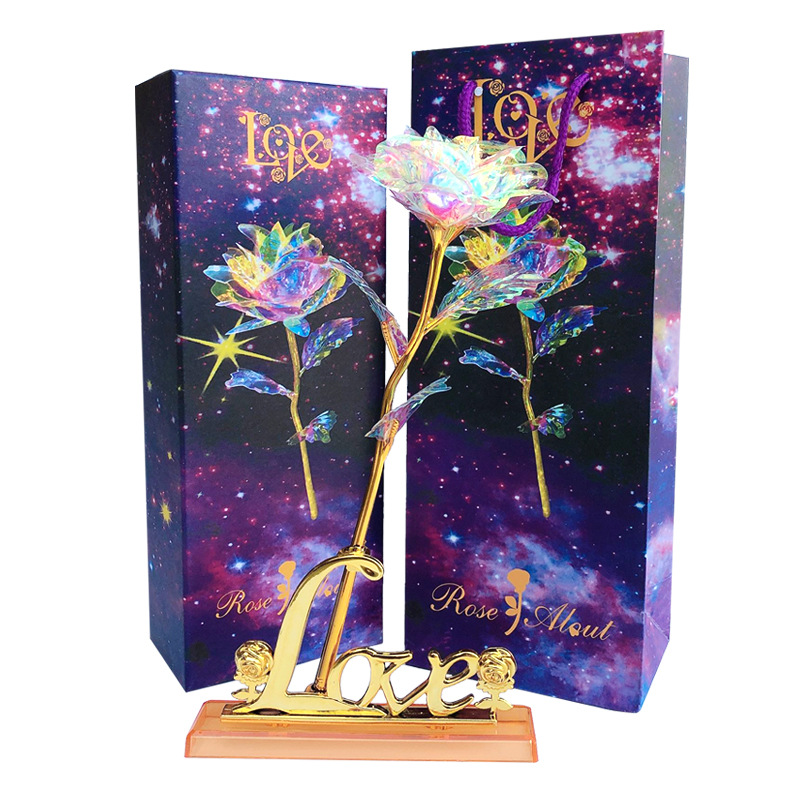 Rainbow Galaxy Rose <strong>Flower</strong> Artificial Crystal Rose Starry Sky 24 Gold plated Rose Gold Foil Rose <strong>Flowers</strong> Valentine' Day Gift