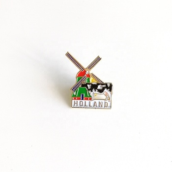 Holland Travel Souvenir Windmill Cow Pins Enamel