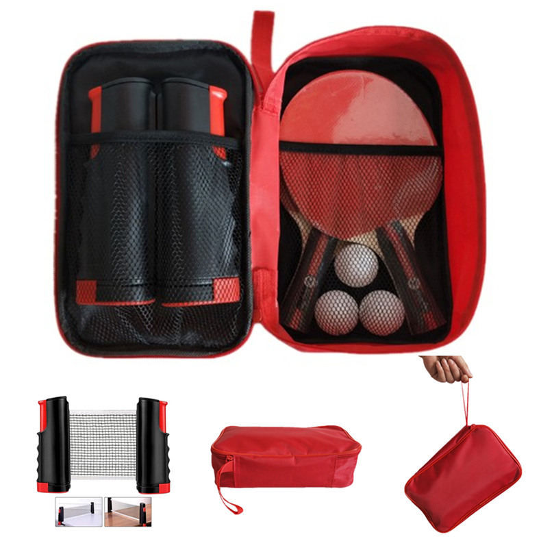table tennis racket set includes 2 rackets 3 balls and 1 retractable table tennis net with color box ping pong paddle racket