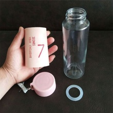 380ml fashion glass water bottle 2020 with new lid bpa free glass water bottle with leather sleeve