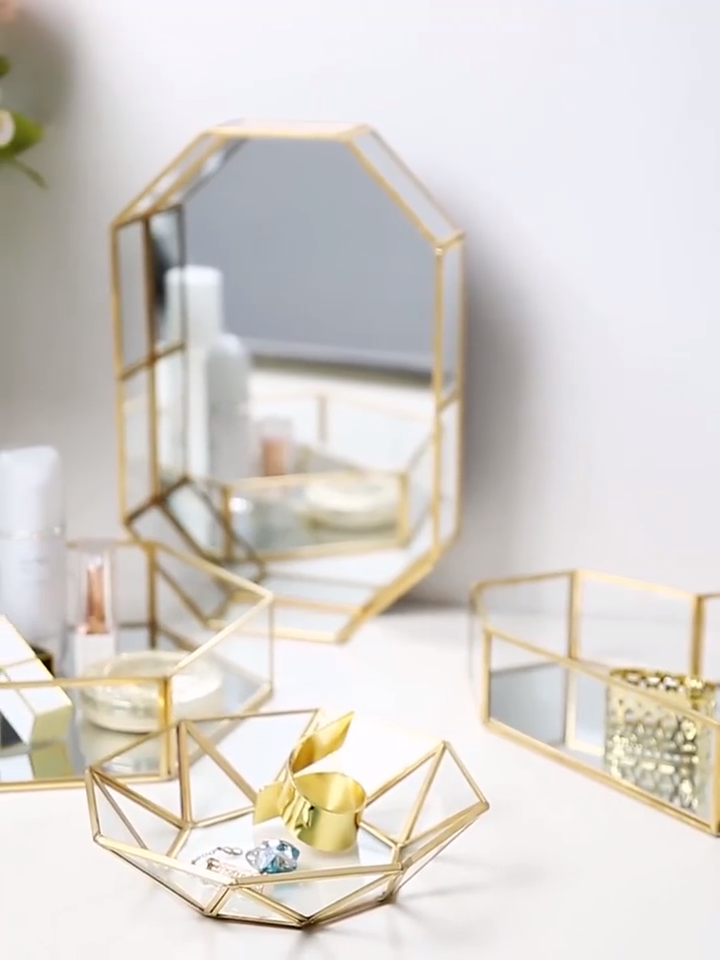 مرآة الغرور صينية ، المزخرفة صينية مزخرفة للعطور ، مجوهرات ومكياج