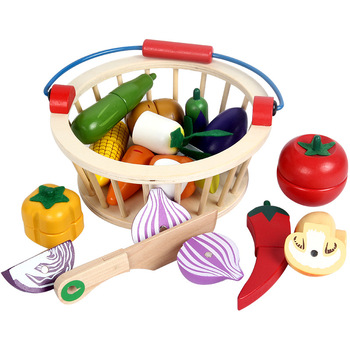 Children's Wooden Cutting fruit fruit Vegetable Toys Wooden kitchen fruit pretend educational wooden play food set