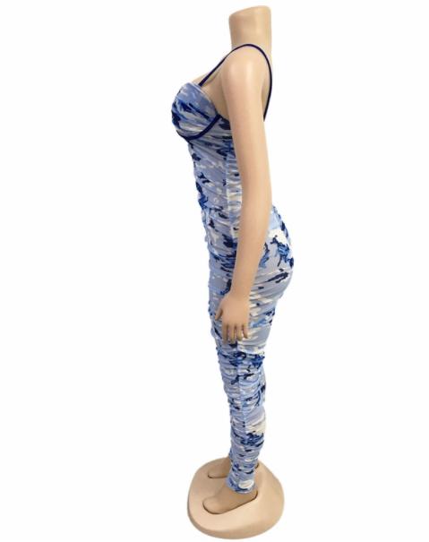 MD-2082632 Baru 2020 Wanita Mesh Cetak Tanpa Lengan Backless Perban Jumpsuit