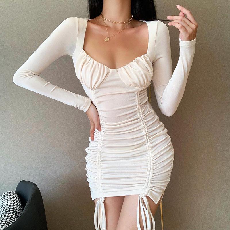 Mới Nhất Hợp Thời Trang Dài Tay Quấn Ruched Dây Rút Quần Áo Cổ Điển Phụ Nữ Mùa Thu Dresses Lady Elegant Sexy