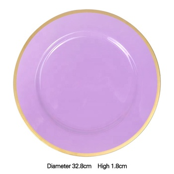 gold lace pink purple restaurant charger plates quality plastic plates