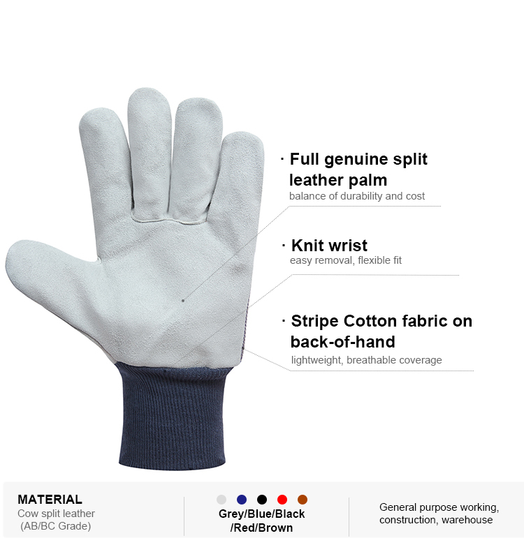 Wholesale bulk cow split leather industrial maintenance hand protection work gloves price