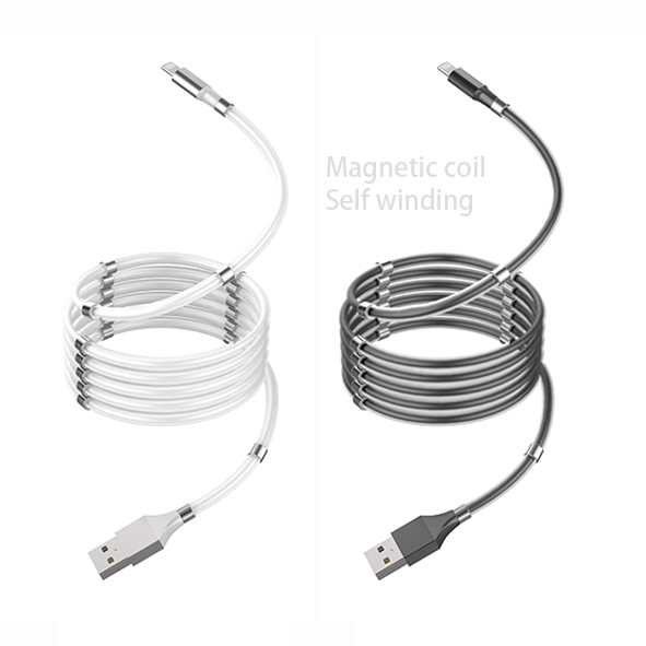 OEM Logo Supercalla Charging Type C Cable Magnetic Ring Micro USB Data Self-Winding Cable for iphone Android Phone