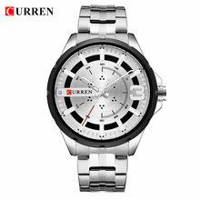 CURREN Синий Для Мужчин Смотреть Мода уникальный дизайн наручные часы из нержавеющей стали группа повседневные часы лучш(Китай)