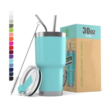 Custom 30oz 20oz double wall stainless steel coffee tumblers vacuum insulated mugs wholesale straw tumbler drinking cups in bulk