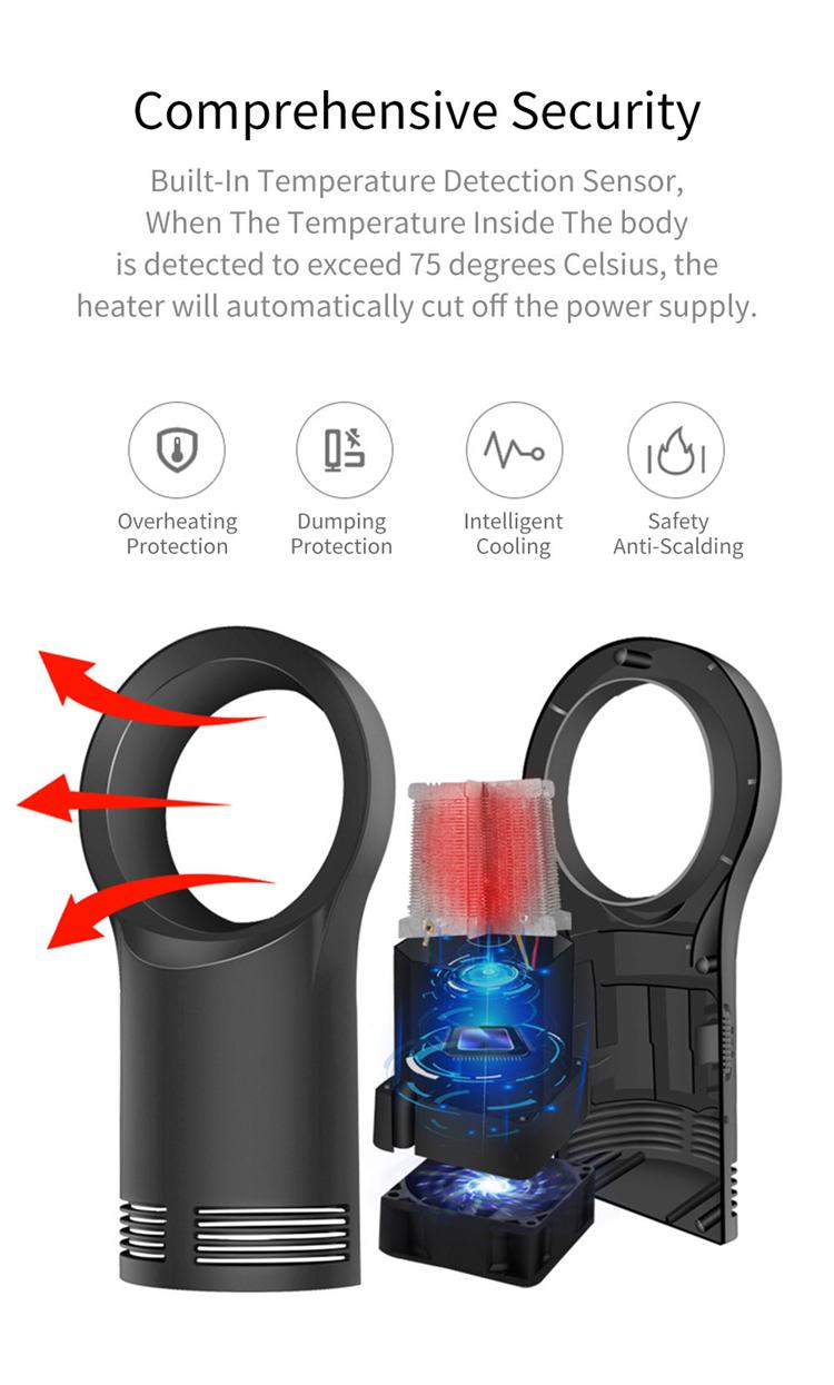 Factory Directly Supply 2 Gears Adjustable fan heater portable hand held leafless fans