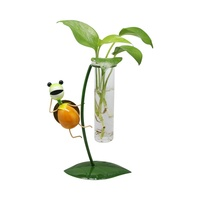 Desktop Decoration 4 shapes Hydroponic Metal Tortoise Glass Flower Planter Pot