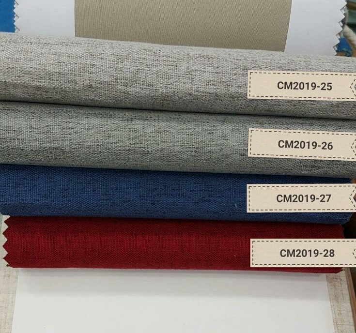 All Our Website Ready Stock Factory Supply Simple Linen Style 100% shading Blackout Curtain Fabric