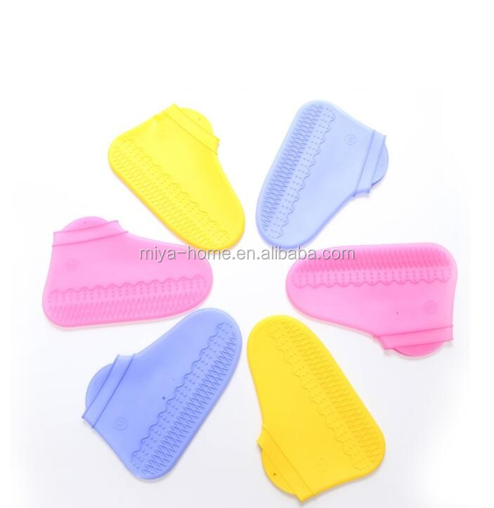 Wholesale high elasticity non-slip waterproof silicone shoe cover / thick wear-resistant silicone rain boots