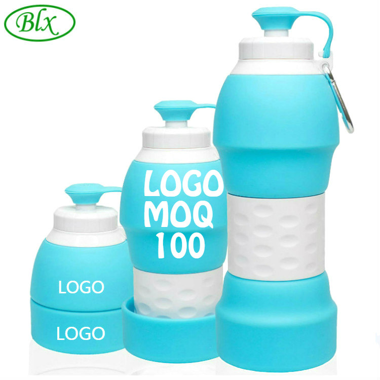Customized Logo 20oz 580ml Eco Friendly Bpa Free Sports Travel Portable Foldable Collapsible Silicone Water <strong>Bottle</strong> with Filter