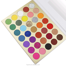 Quick customization 35 color glitter eyeshadow slot pan palette private label waterproof