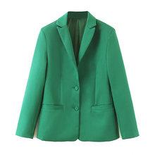 Костюмы 2020 рабочие брюки зеленый комплект из 2 предметов для женщин однобортный тонкий короткий Блейзер пиджак и брюки офисный женский кост...(Китай)
