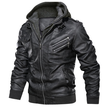 in stock fashion style plus size European and American leather winter jacket hoodies men
