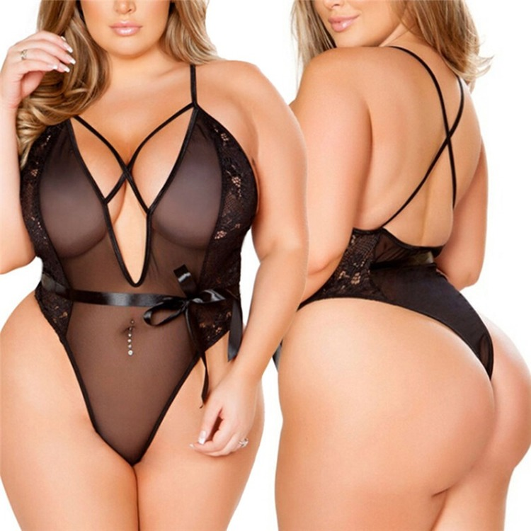 High quality nylon transparent lingerie set sexy fancy beautiful nice curves for fat woman