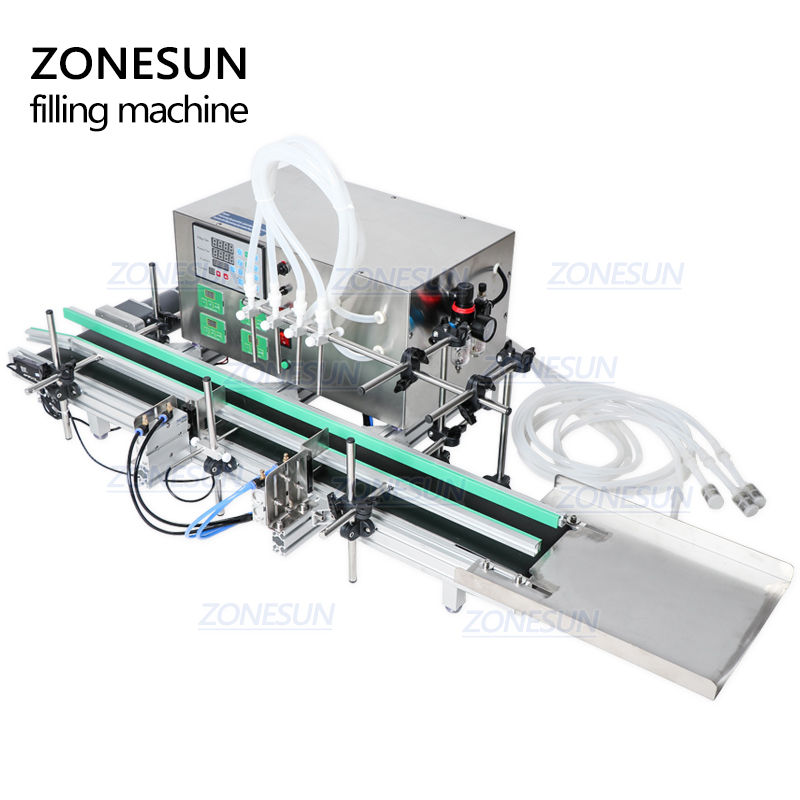 ZONESUN 4Nozzles Liquid Perfume Water Juice Essential Oil Electric Digital Control Pump Liquid Filling Machine supply