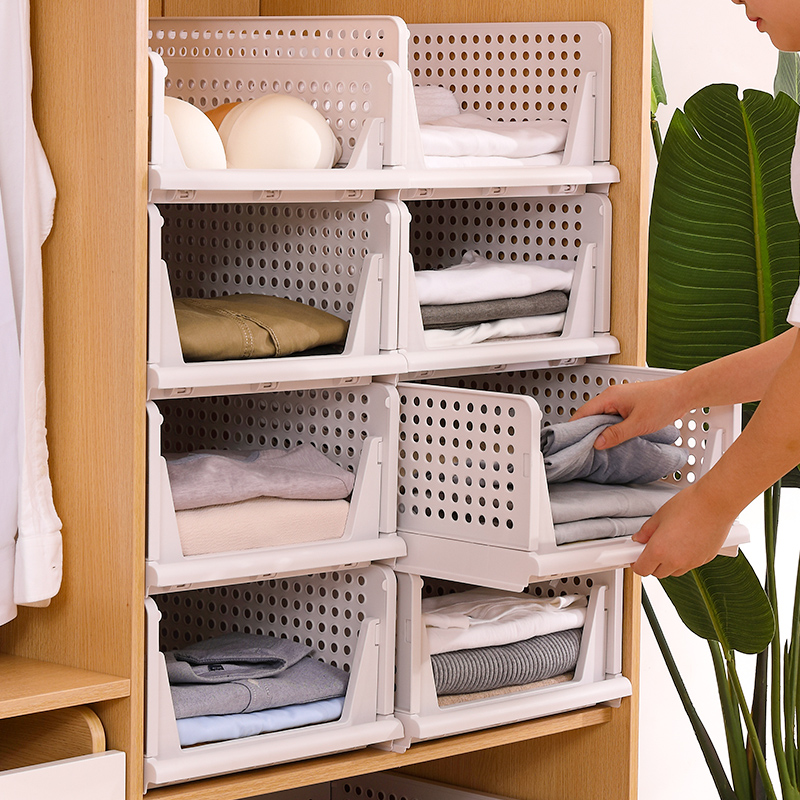 Assemble Foldable Clothes Storage Box Cabinet Wardrobe Storage Layered Partition Drawer Plastic <strong>Shelf</strong>