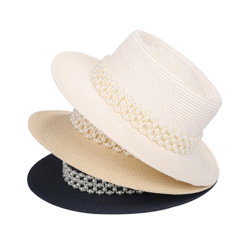 新到着装飾真珠ファッションレディースサマービーチ太陽わら帽子