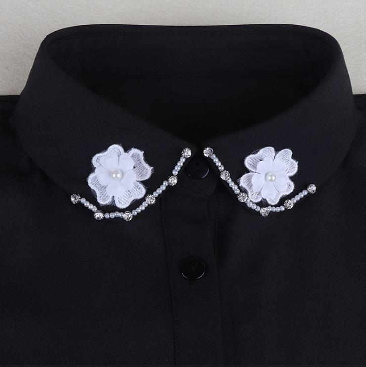 Wholesale cheap 3d lace flower pear and rhinestone beaded detachable half shirt collar