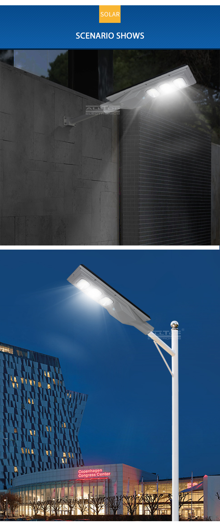 ALLTOP Energy saving IP65 waterproof outdoor 30w 60w 90w 120w 150w w integrated all in one solar led streetlight