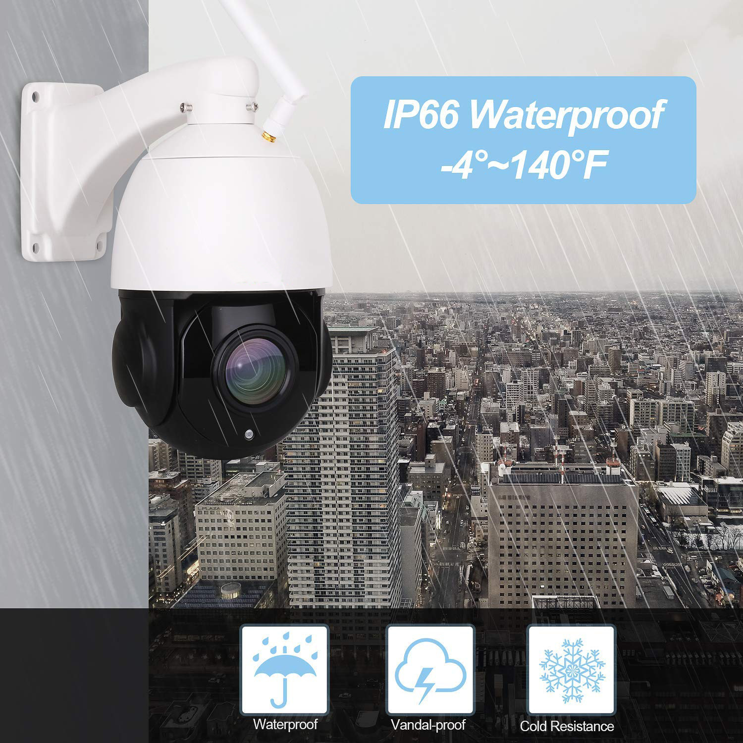 Outdoor Tahan Air HD Malam Visi Pan Tilt Dome 20X Zoom Optik Nirkabel Pengawasan CCTV 5MP PTZ Wifi Kamera Keamanan