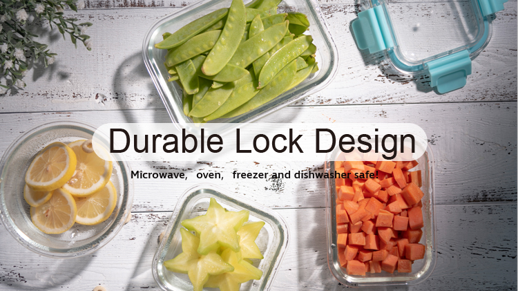IKOO Fashion design lunchbox glass food storage container lunch box glass 640ml