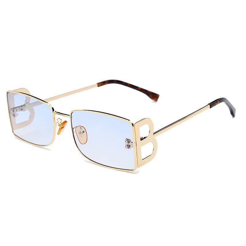 UV400 Luxury Ladies Summer Trendy Metal Frame Letter B Women Shades Sun Glasses Sunglasses
